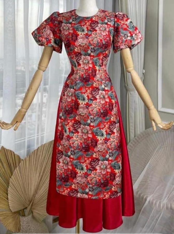 DC044 - Áo dài cách tân tay bồng mix váy