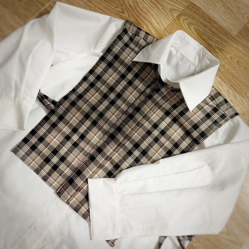 30056 - Set sơmi dáng dài + áo ghile vuông / Đào Đức