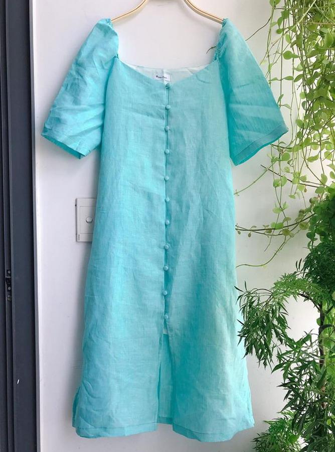 30011 - Đầm cổ vuông tay bồng (05-07-2020)