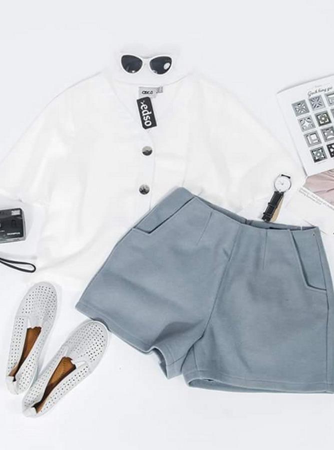 DC011 - Bộ short túi vuông - áo lửng cài khuy (26-02-2019)